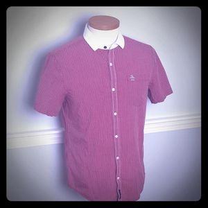 Mens Peguin button up T-shirt